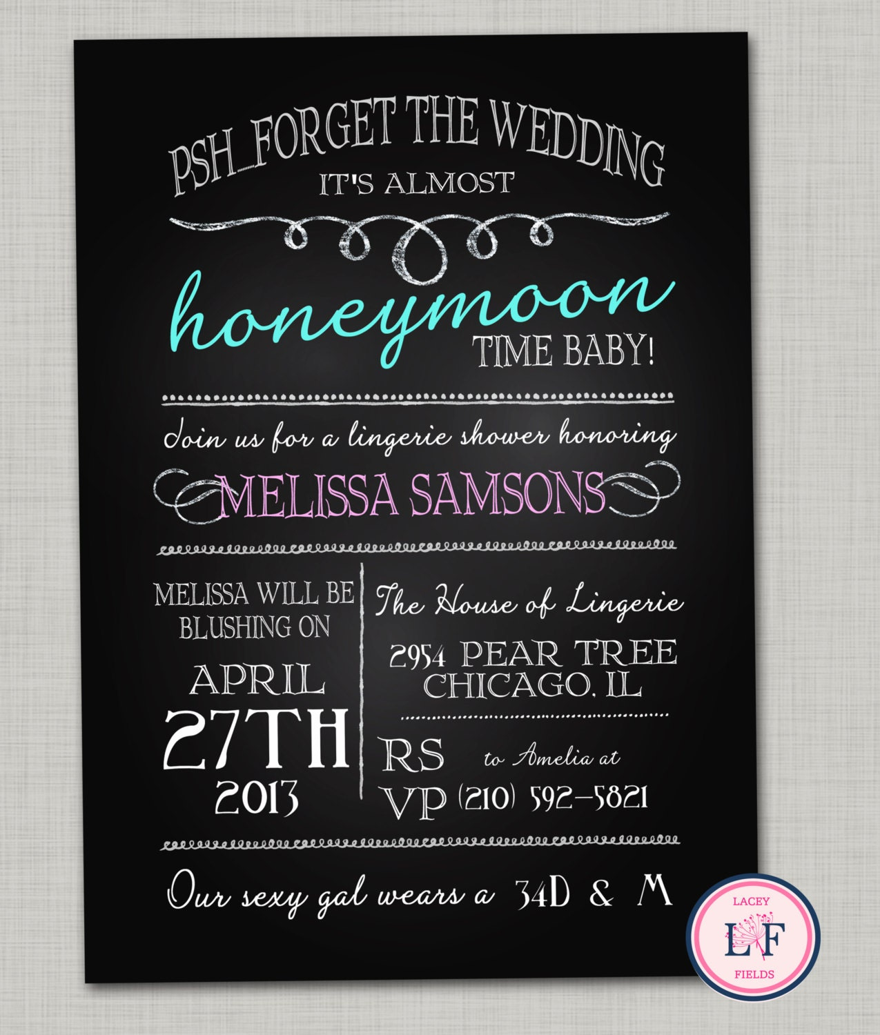 Lingerie shower invitation printable chalkboard by laceyfields for Lingerie bridal shower invitations