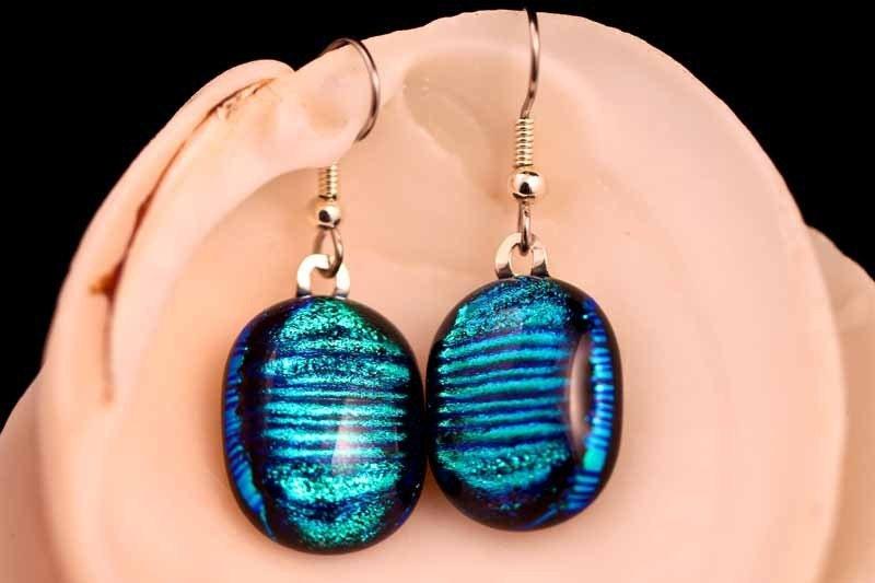 Blue Streaks Earrings- FREE SHIPPING