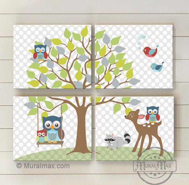 Room Decor  OWL canvas art, Baby Nursery Room Decor ,Canvas Set 10x12