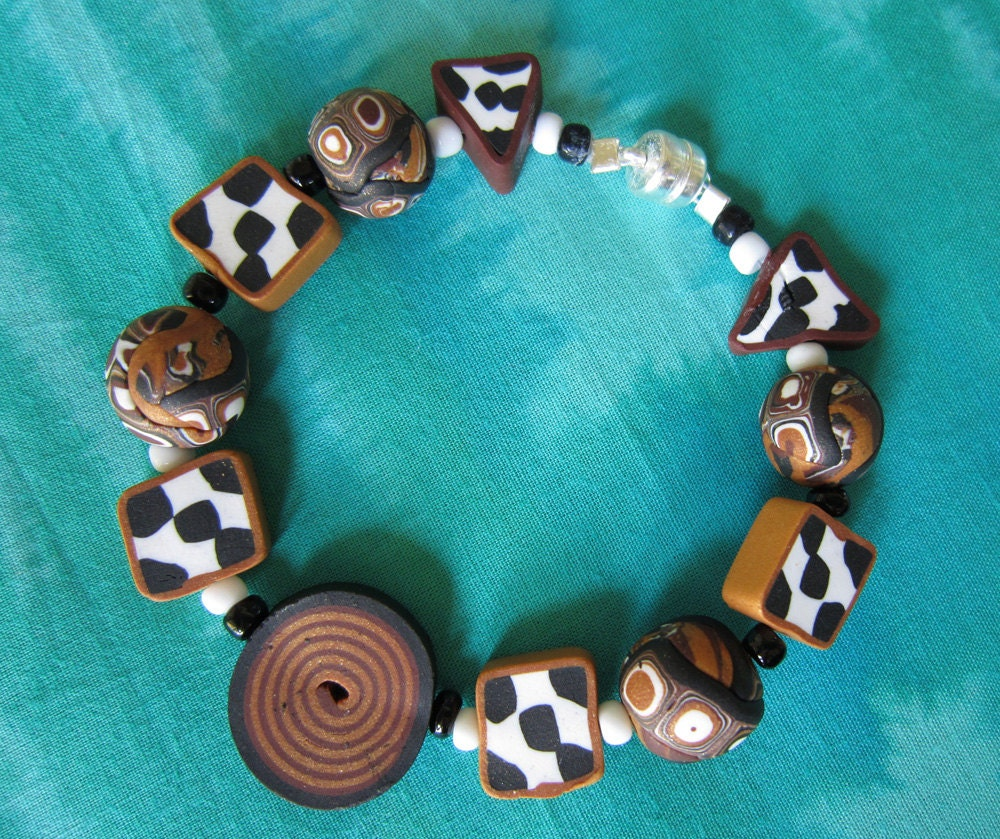 Earth Tone Bulls Eye Bracelet (Fimo Clay)