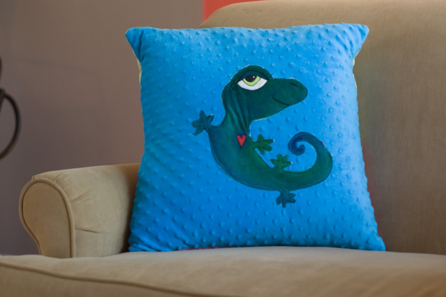 Custom Appliqued Pillow on Minky dot gecko lion bird octopus bedroom bedding apartment soft cozy - LittleBirdbygrace