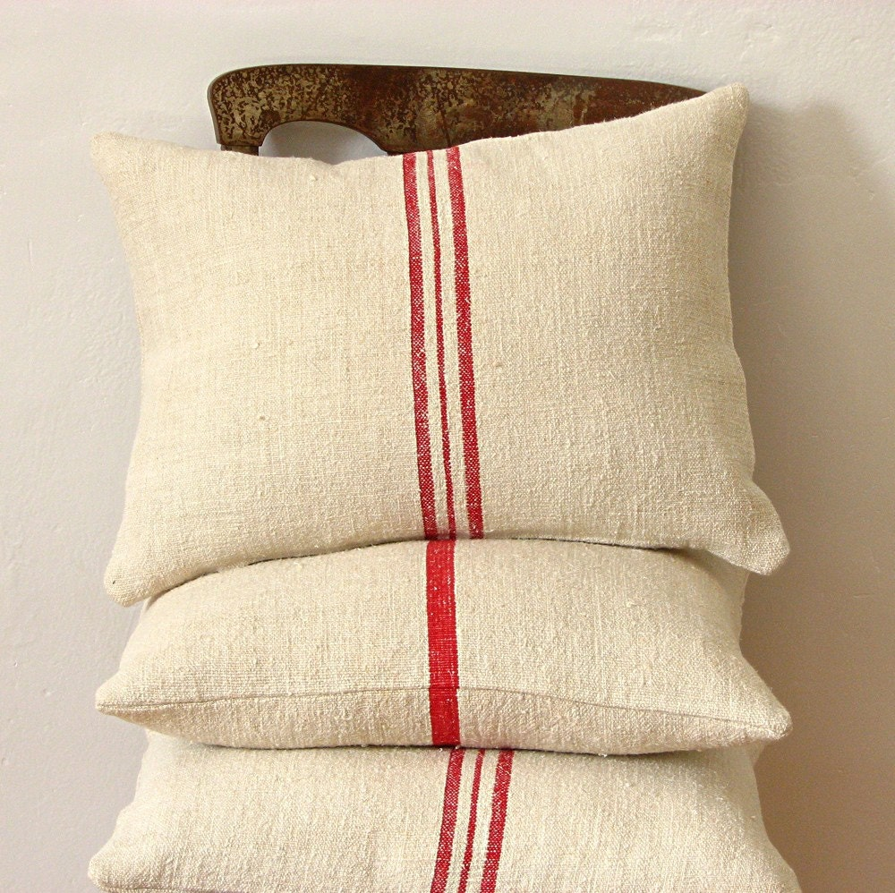 Vintage Grainsack Pillow Triple Red Stripe