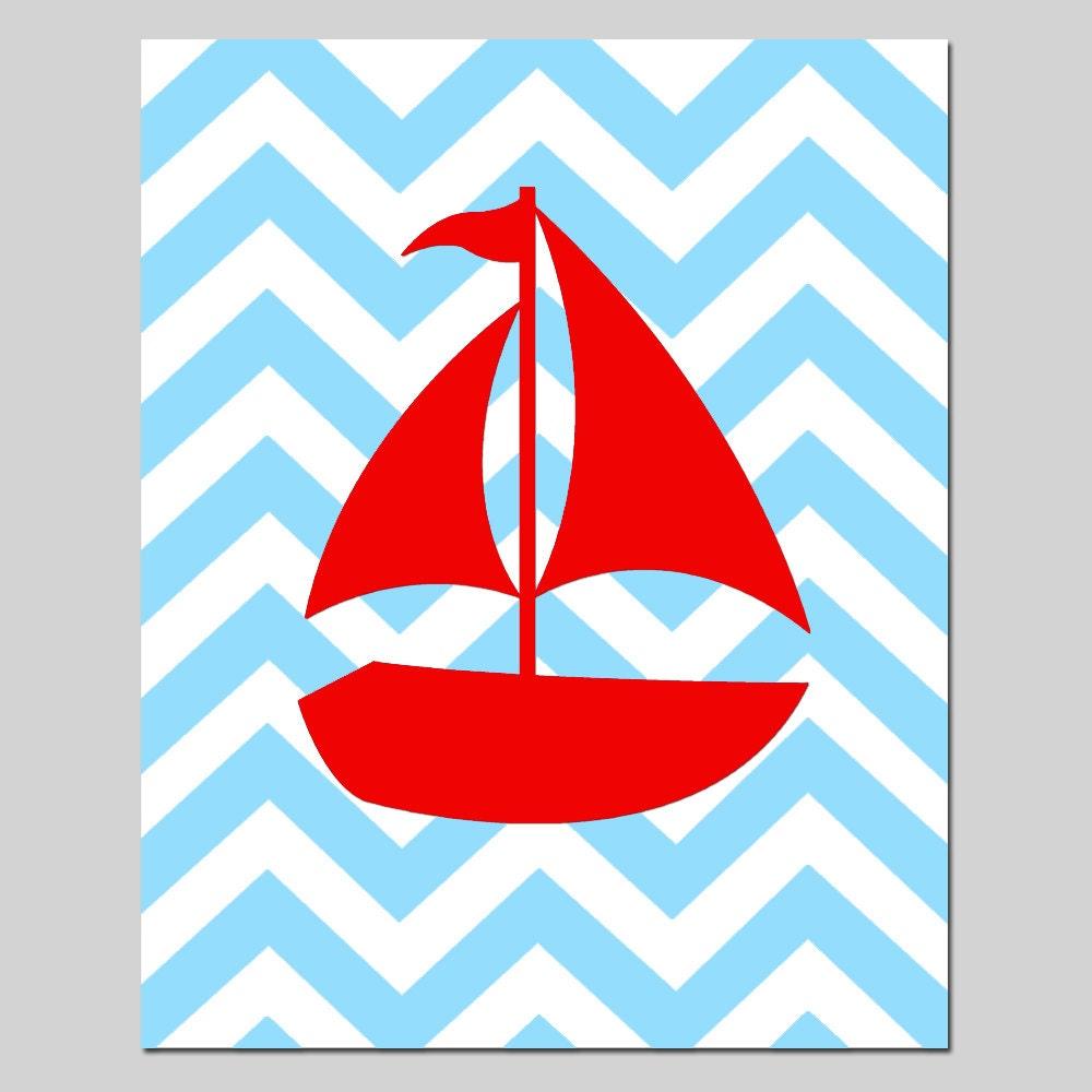 chevron sailboat 11x14 print nautical nursery kids by tessyla