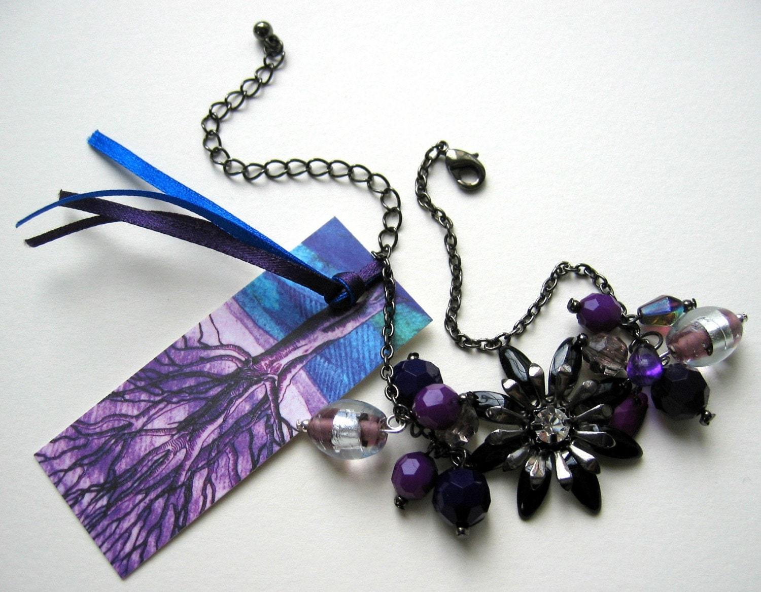 Purple, black and silver bracelet