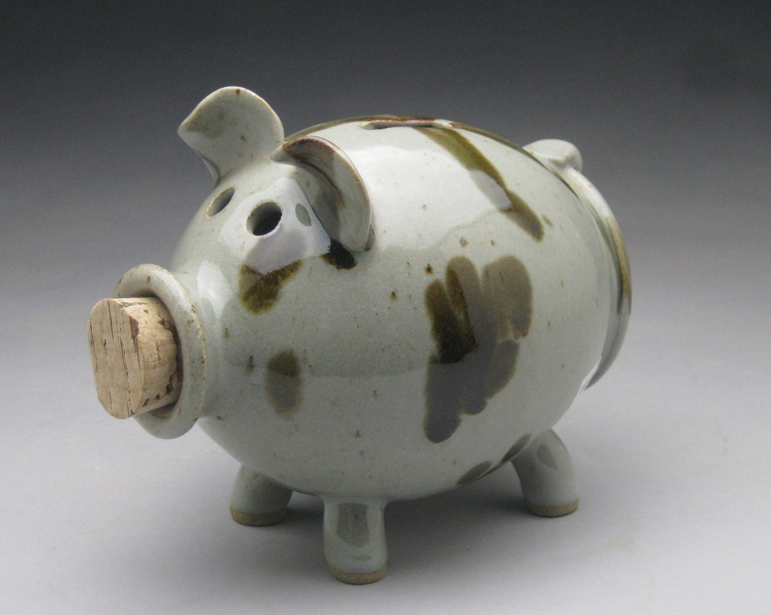 Black Brown And White Ceramic Piggy Bank By Meeshspottery