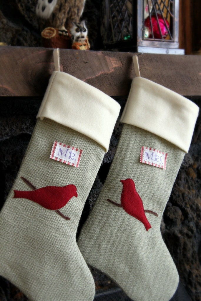 AFTER CHRISTMAS DELIVERY Beautiful Mr & Mrs Burlap Stockings, Red Cardinals on Branch