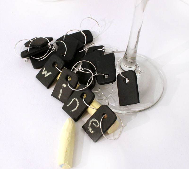 Personalized Wedding Wine Glass Charms : Wedding Drink Tags Chalkboard Personalized Wine Glass by mintmoose