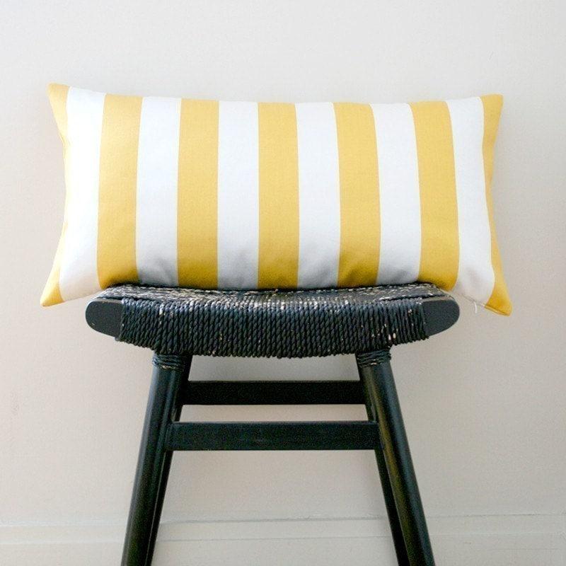 YELLOW WHITE STRIPES Cotton Pillow Cover, Cushion 63 x 34 cm