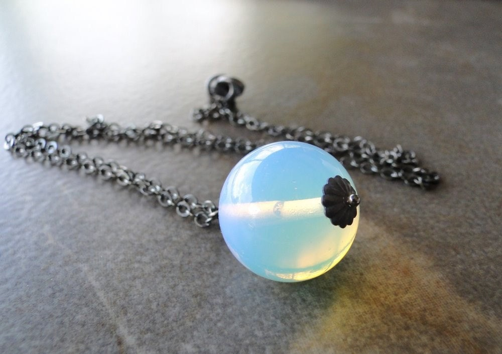 Milky Opalite On An Oxidized Sterling Silver Chain by beadsme from etsy.com