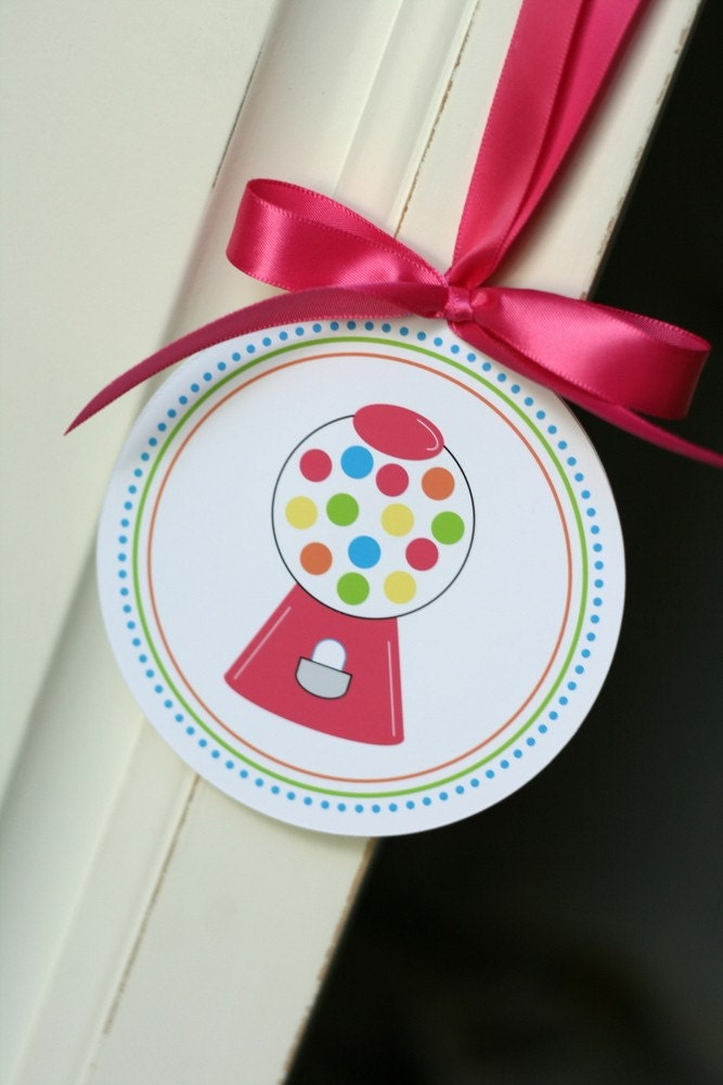 PRINTABLE 4 INCH PARTY CIRCLES - Bubble Gum Birthday Party Collection - The TomKat Studio