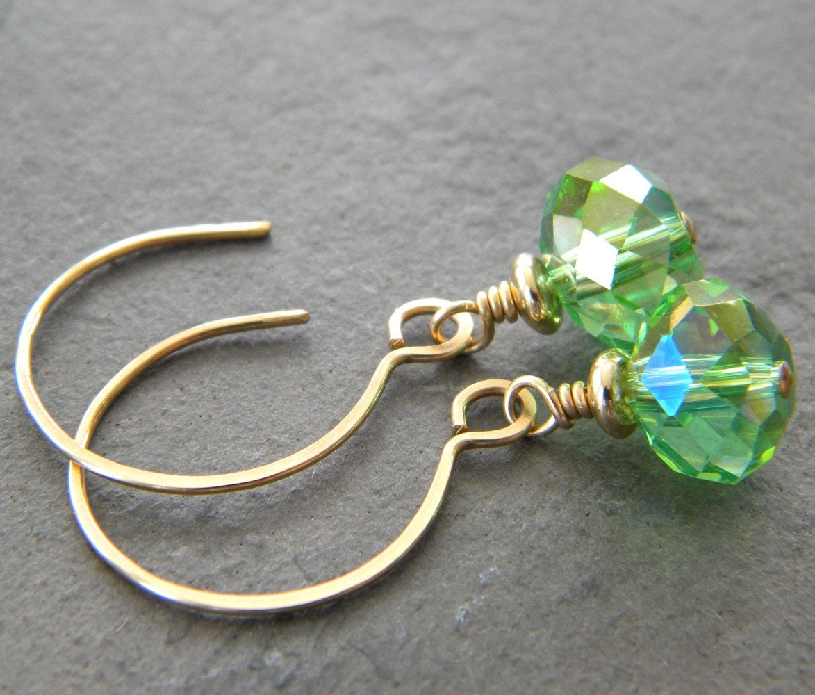 SALE - Emerald Green Fire-Polished Faceted Glass Rondelle 14 Karat Gold-Filled Earrings