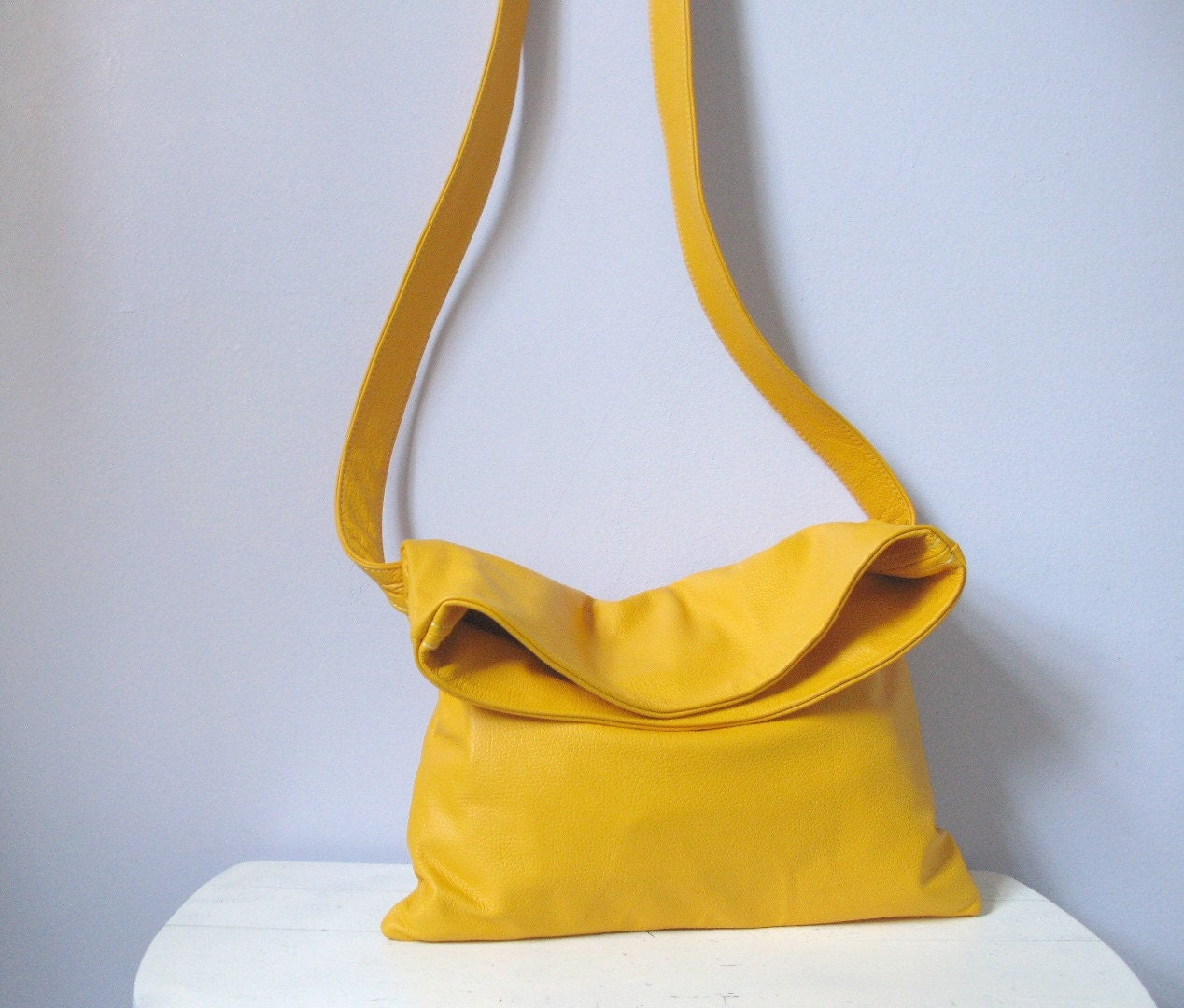 thisbe leather satchel messenger bag - school bus yellow by renneslechateau on Etsy from etsy.com