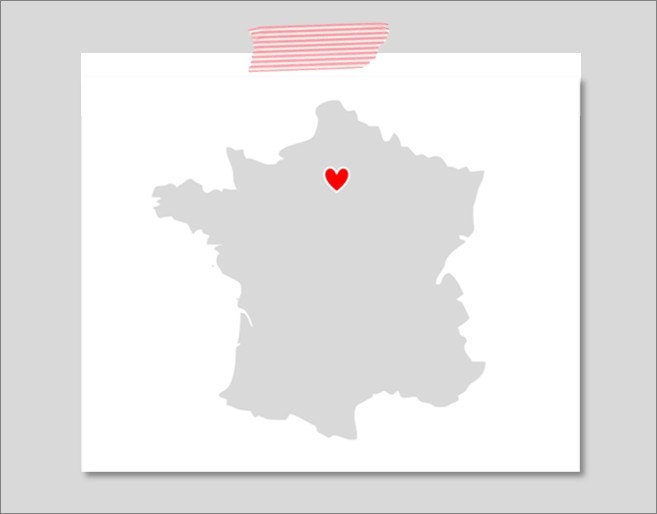 Personalized I Left My Heart In 8x10 Inch Art Print. French. France. Europe. Country. Map. Customized. Choose Your City.
