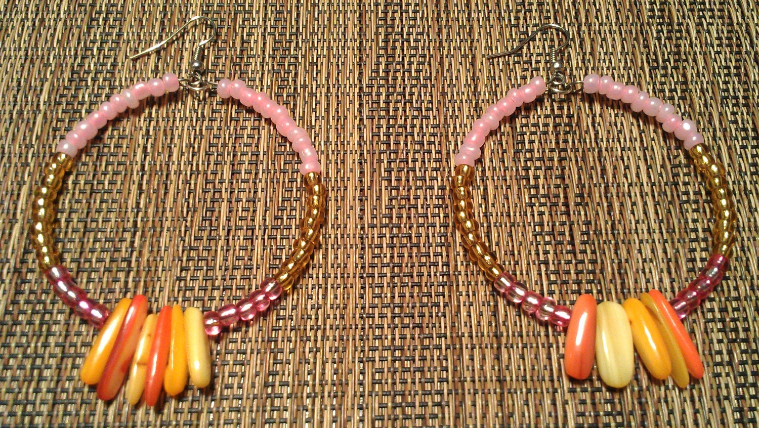 """Pink, Orange, and Yellow Beaded Hoop Earrings with Hanging Glass Beads: """"Candy Rain"""""""