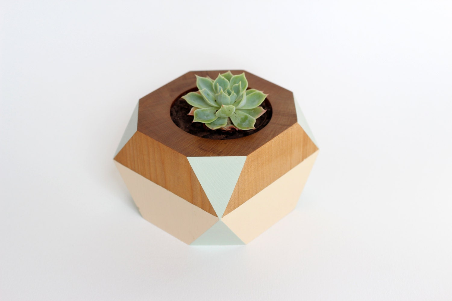 Geometric Wooden Pot - LittleLambCraft