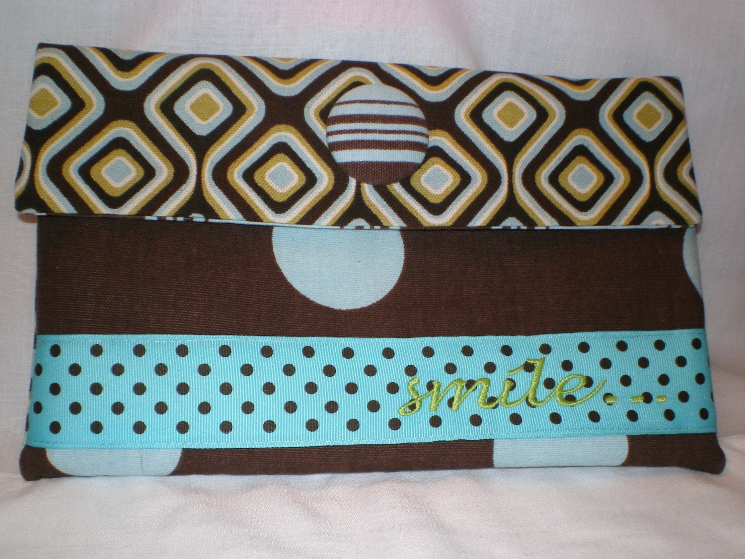 teal chocolate brown embroidered cosmetic bag