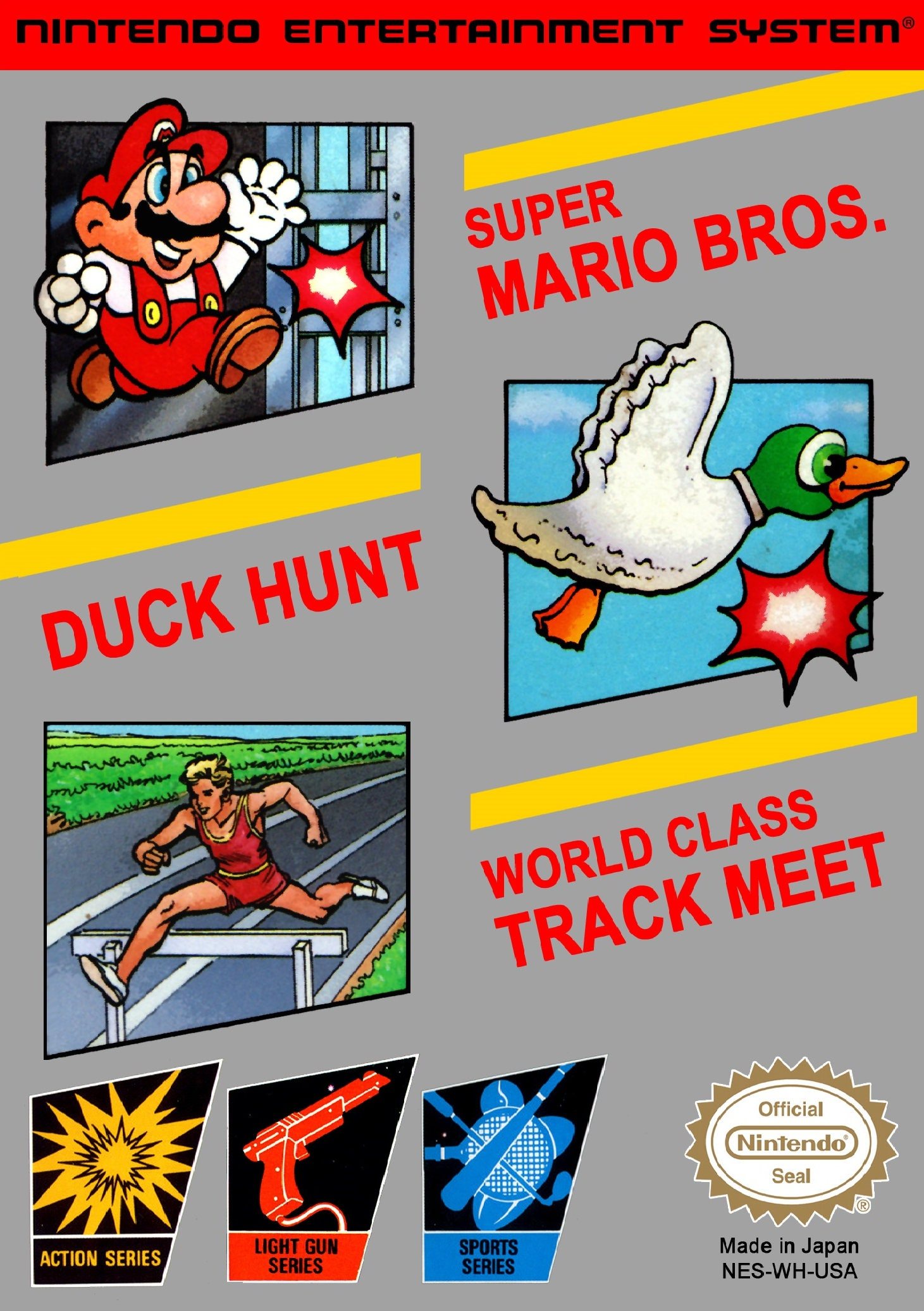 NES Super Mario Bros  Duck Hunt  World Class Traack Meet  Repo Box Only NO Game Included