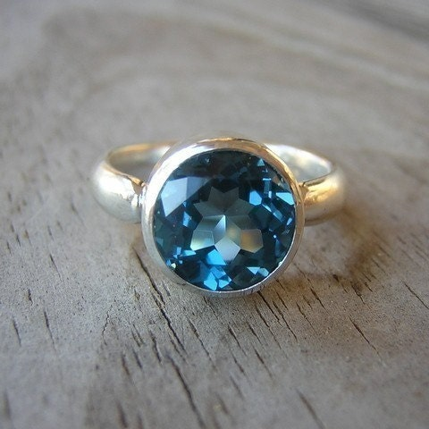 READY TO Ship Size 7, Rock Fetish in London Blue Topaz and Argentium Sterling