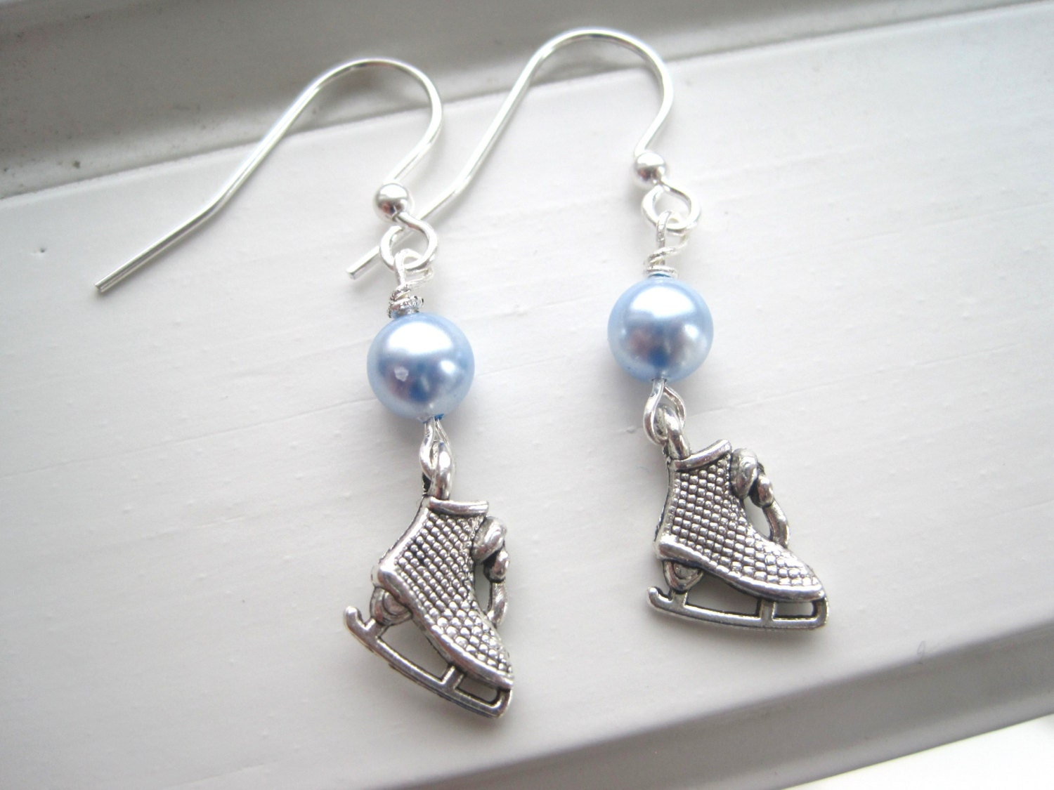 Ice Skate Earrings - Ice Skating Jewelry -Winter Olympics Earrings - Silver Charm Earrings - Sochi Olympics 2014 - Light Blue Earrings - Sparkleandswirl