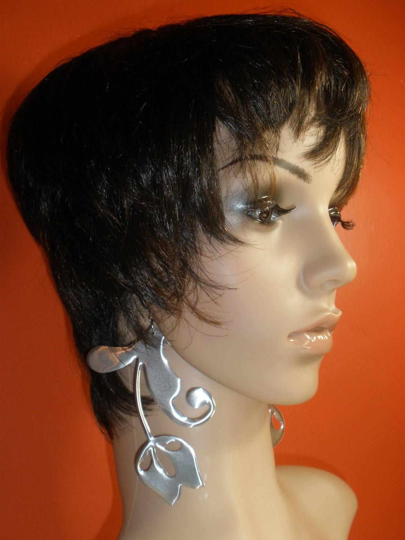 Attractive Unique Silver Aluminum Earring Dangling Fashion Flower Earring, Handmade, Jewelry, Ladies Earrings, Womens Earrings