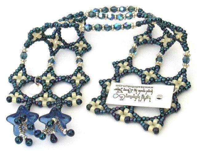 Kepler's Star Bracelet -- Sapphire Blue Flowers and Cream