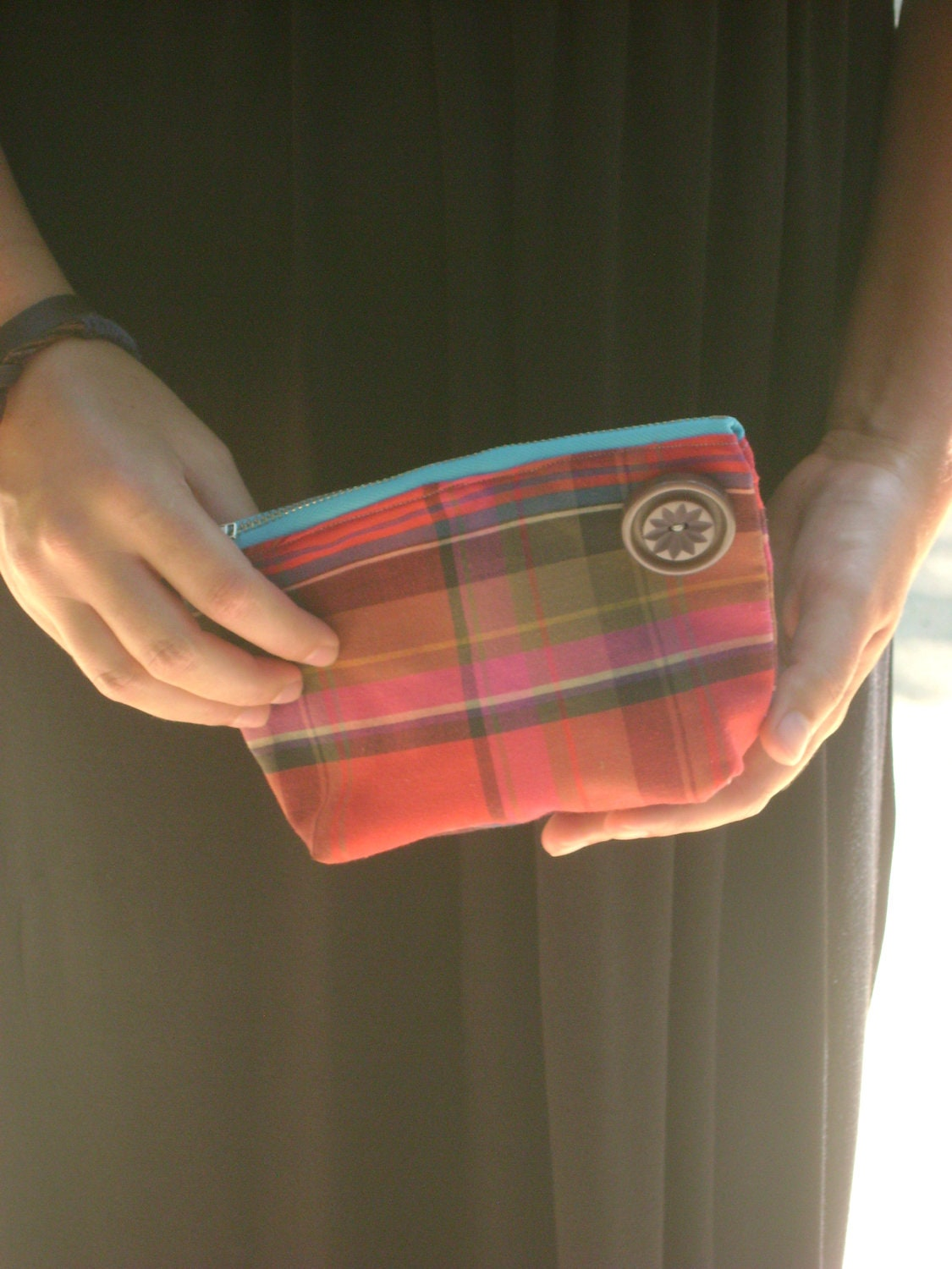 Red, Yellow, and Navy Make Up/Jewelry Pouch with Teal Zipper