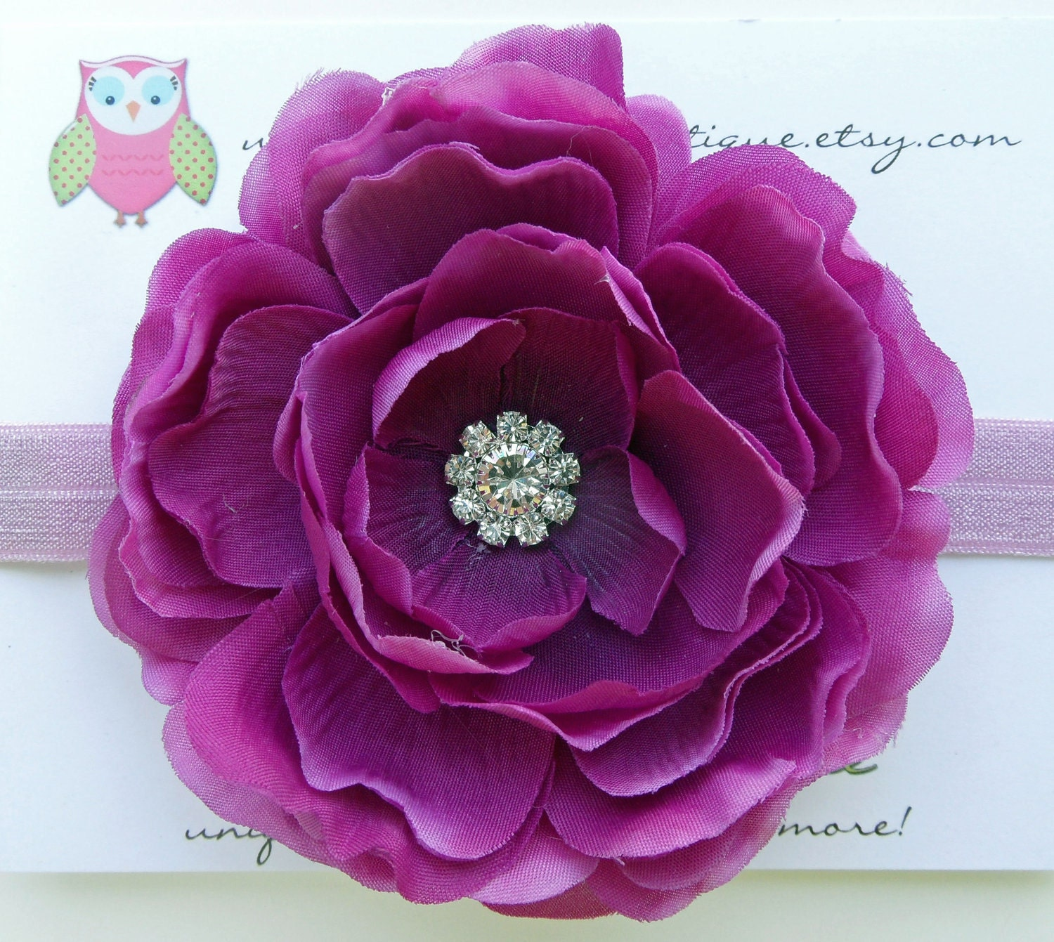 Adjustable Headband with Beautiful Purple Flower Hair Clip Perfect Item for Girls, Toddlers, Babies and Infants