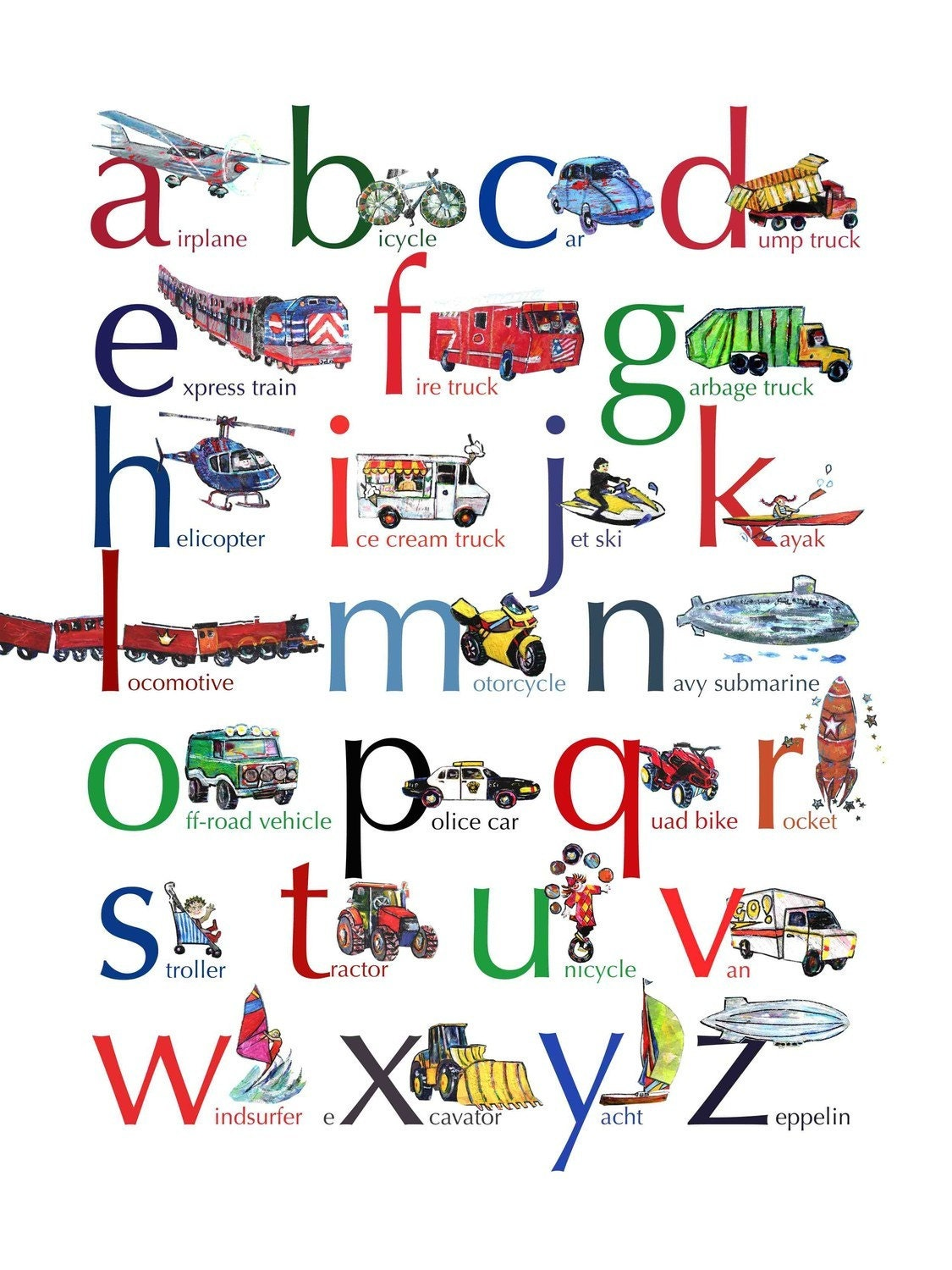 Vehicles ABC alphabet poster, 18 x 24