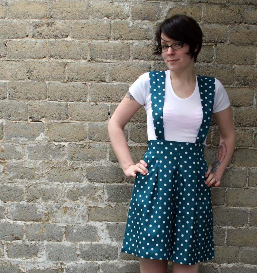 Polka Dot 80s Suspender Mini Dress Romper, s-m