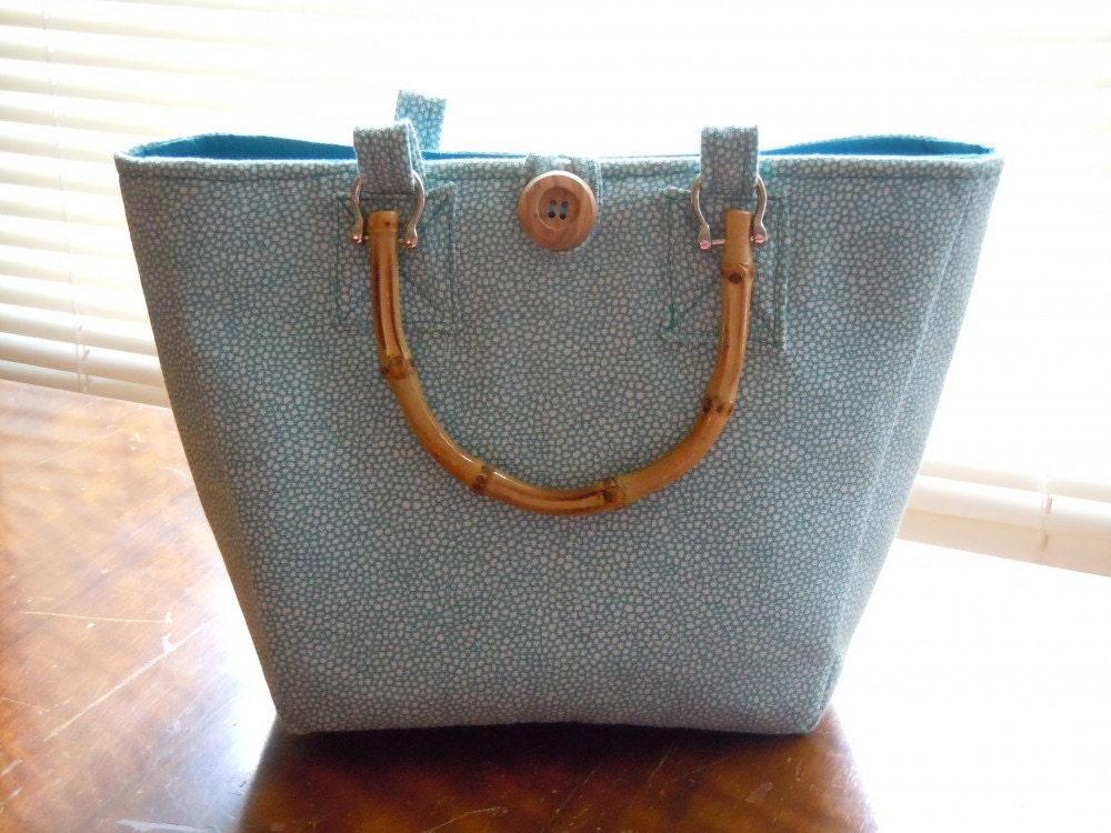 Handmade bag with teal polka dots