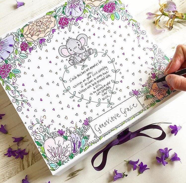 Time Capsule New Baby Gift First Birthday Gift Keepsake Box Memory Box Hand Illustrated.