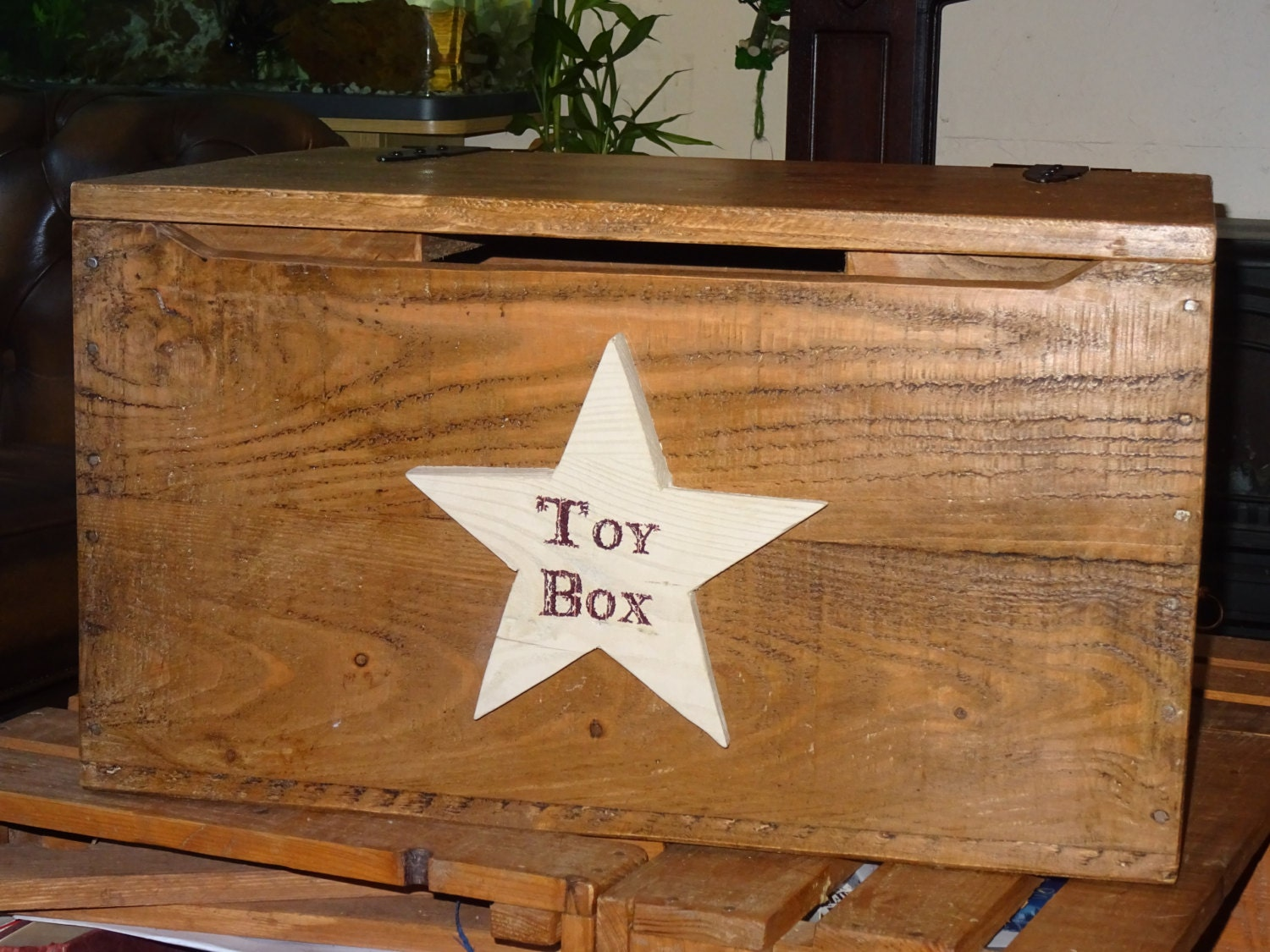 Large Storage Toy Memory Box Trunk with Personalised Name Plate