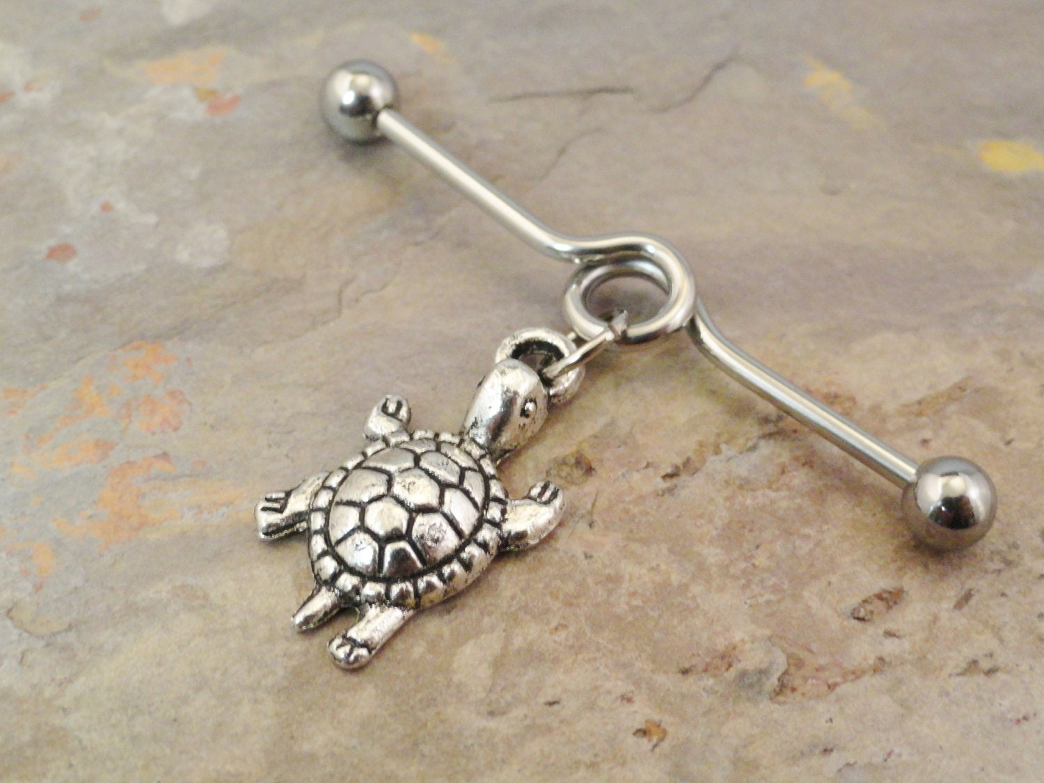 items similar to turtle industrial barbell piercing