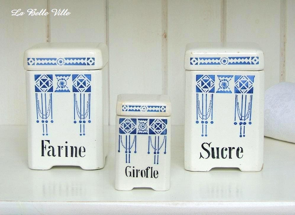 1920s French kitchen canisters - Art Deco storage pots - Set of 3 - LaBelleVille