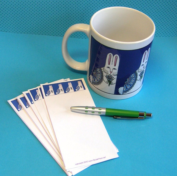Bon Appetit Bunny Rabbit Coffee Mug and Memos Gift Set