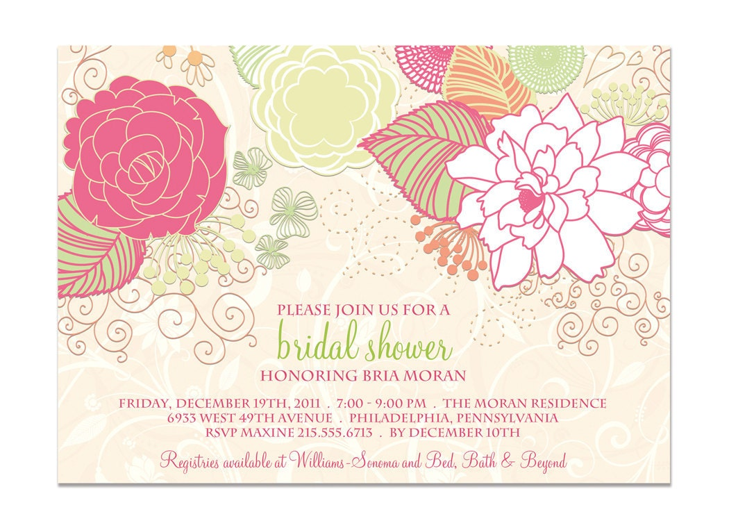 bridal shower invitation shabby chic floral by. Black Bedroom Furniture Sets. Home Design Ideas