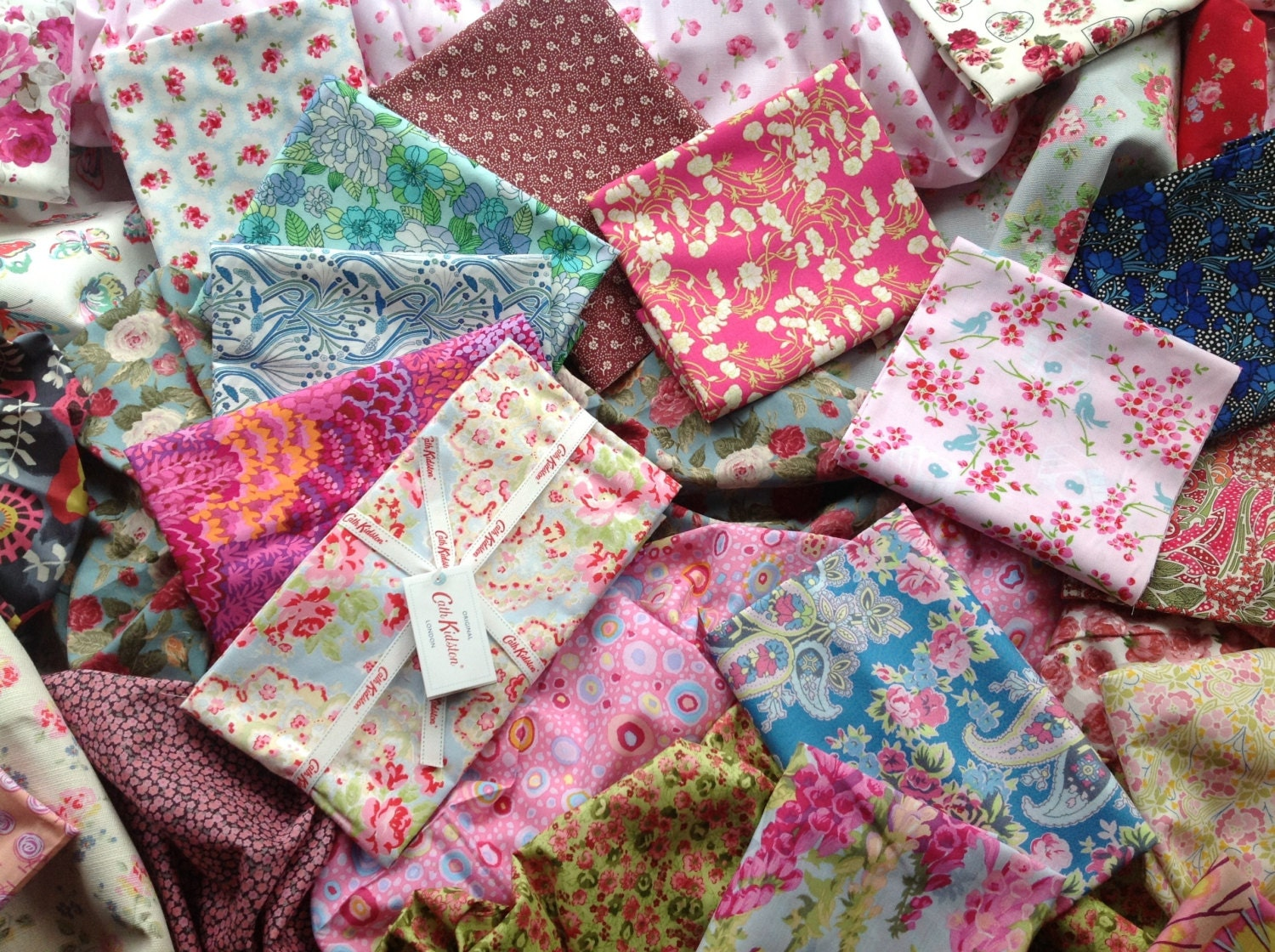 Over 60 scraps of cath kidston liberty and laura ashley fabric