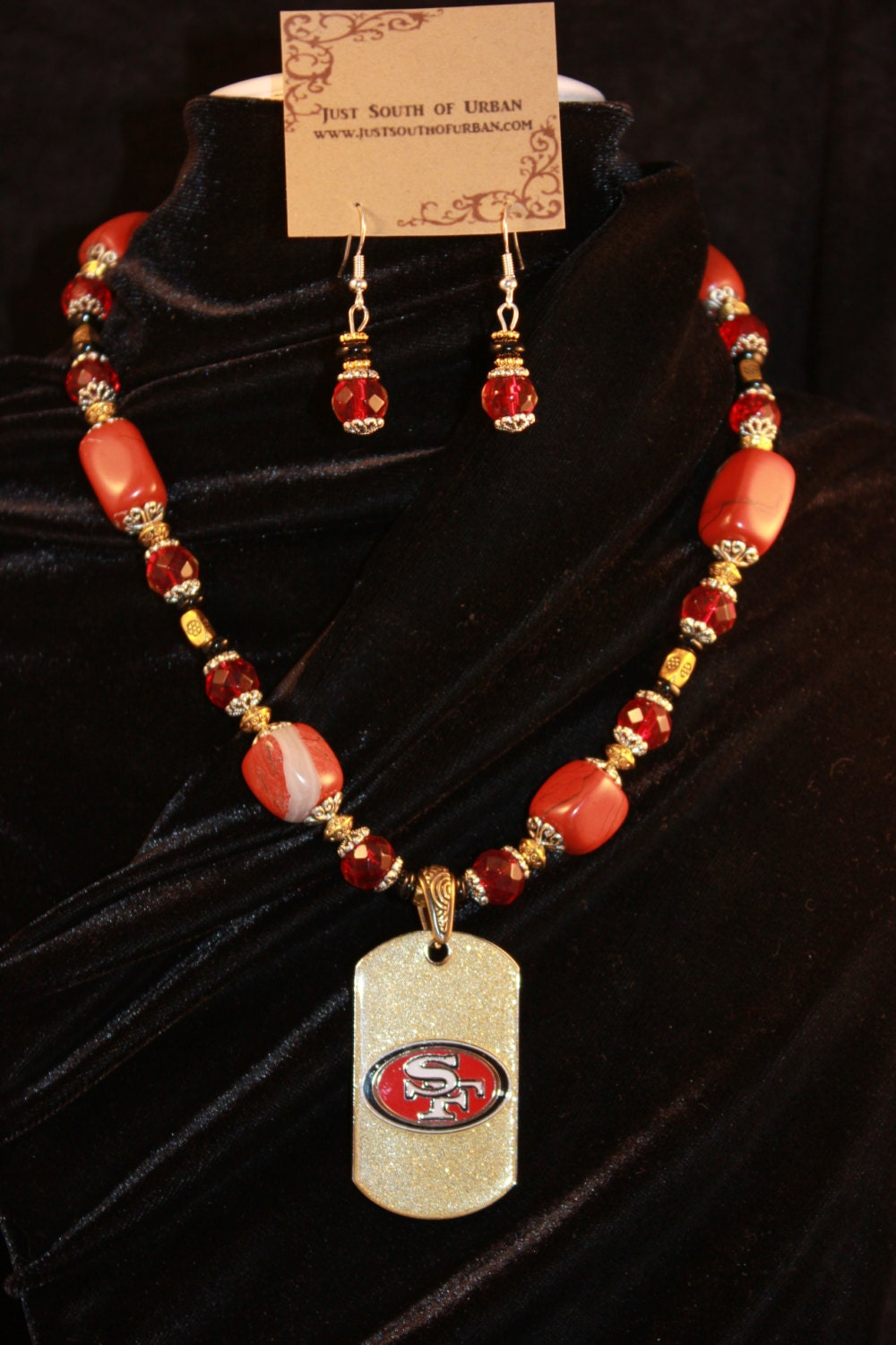 san francisco 49ers necklace and earring set by