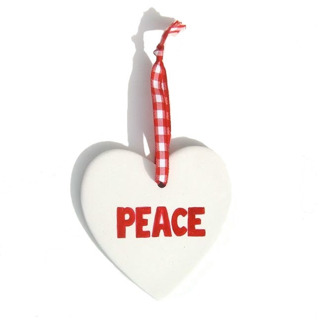 Personalised Peace Heart Decoration, Hand Painted Christmas Keepsake, Red And White Christmas Décor - freespiritdesigns2