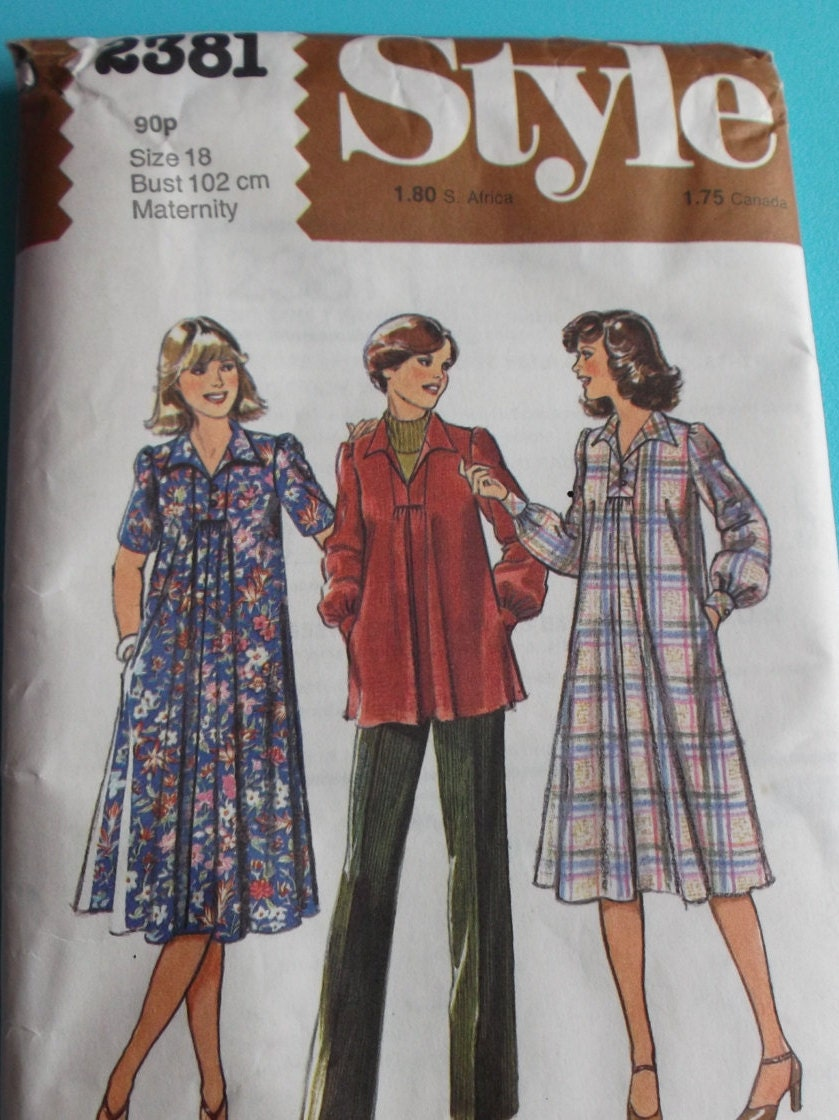 Style Sewing Pattern Number 2381 for Womens Maternity Dress Top and Trousers in  Size 18