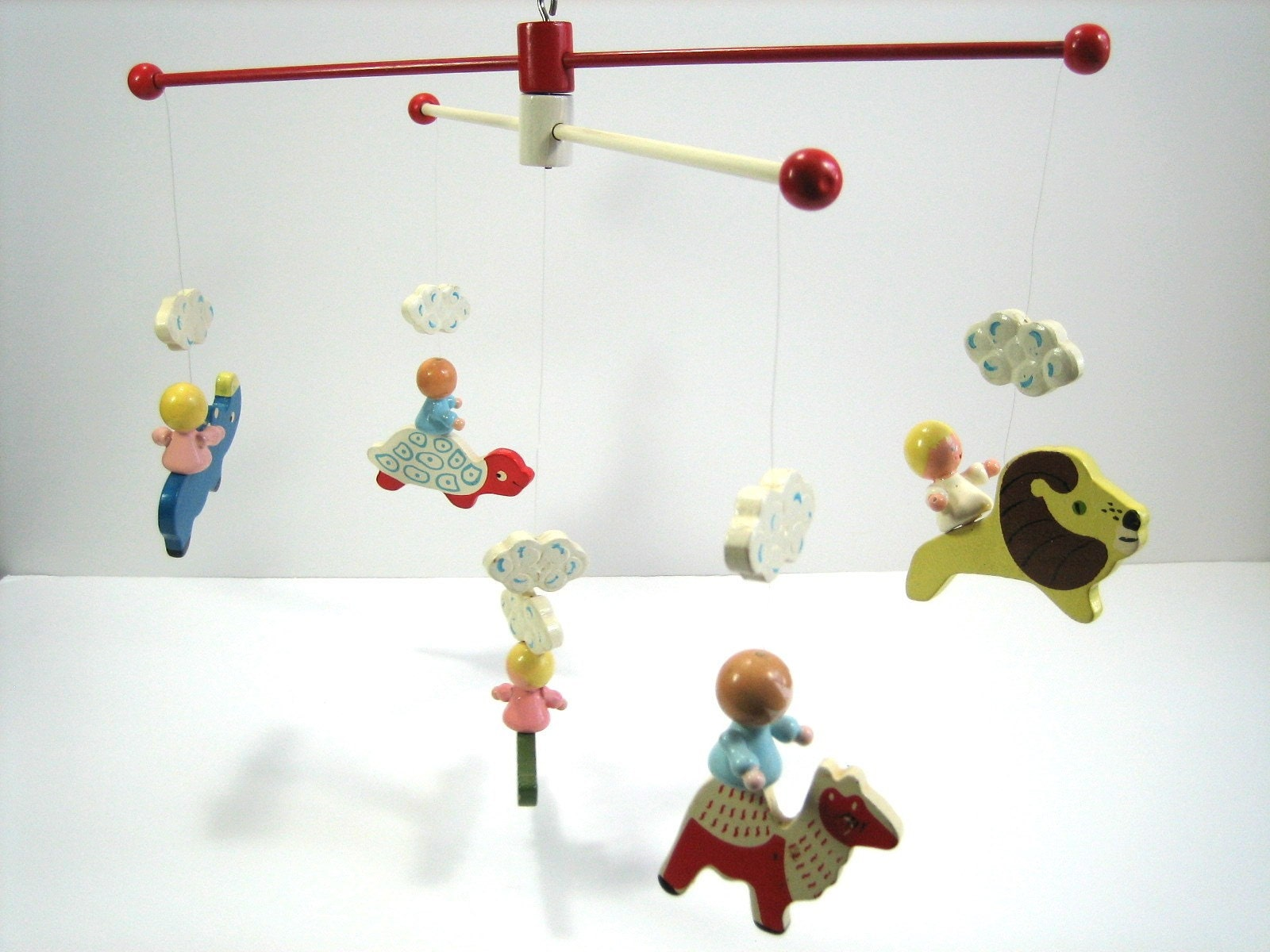 Vintage Hand Painted Irmi Crib Mobile Zoo By