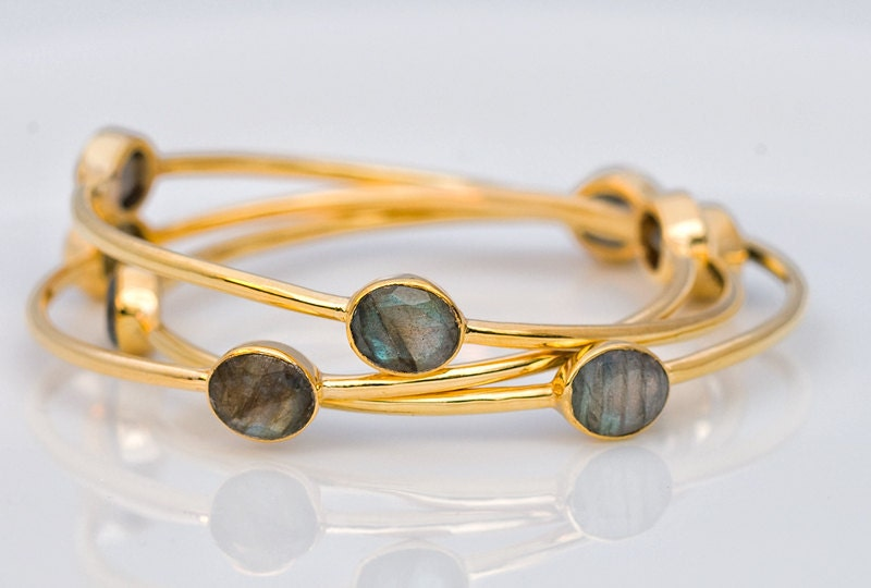 18K Gold Plated Natural Labradorite Bracelet