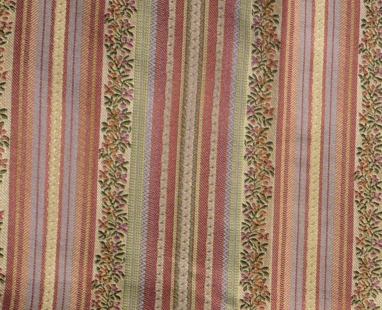 Http Etsy Com Listing 154531897 Floral Stripe Brocade Fabric Home Decor