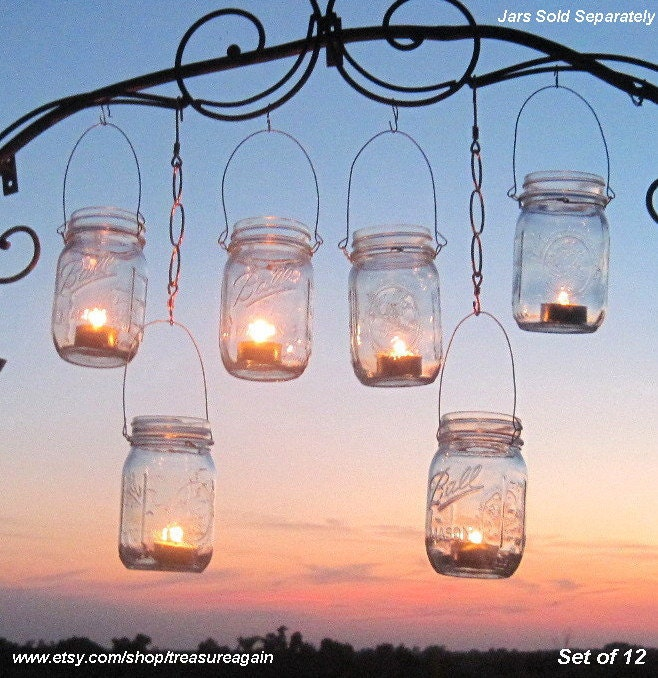 12 Hanging Garden Light DIY Mason Jar Lantern Hangers, DIY Candle Jar or Flower Vase Hangers, No Jars - treasureagain