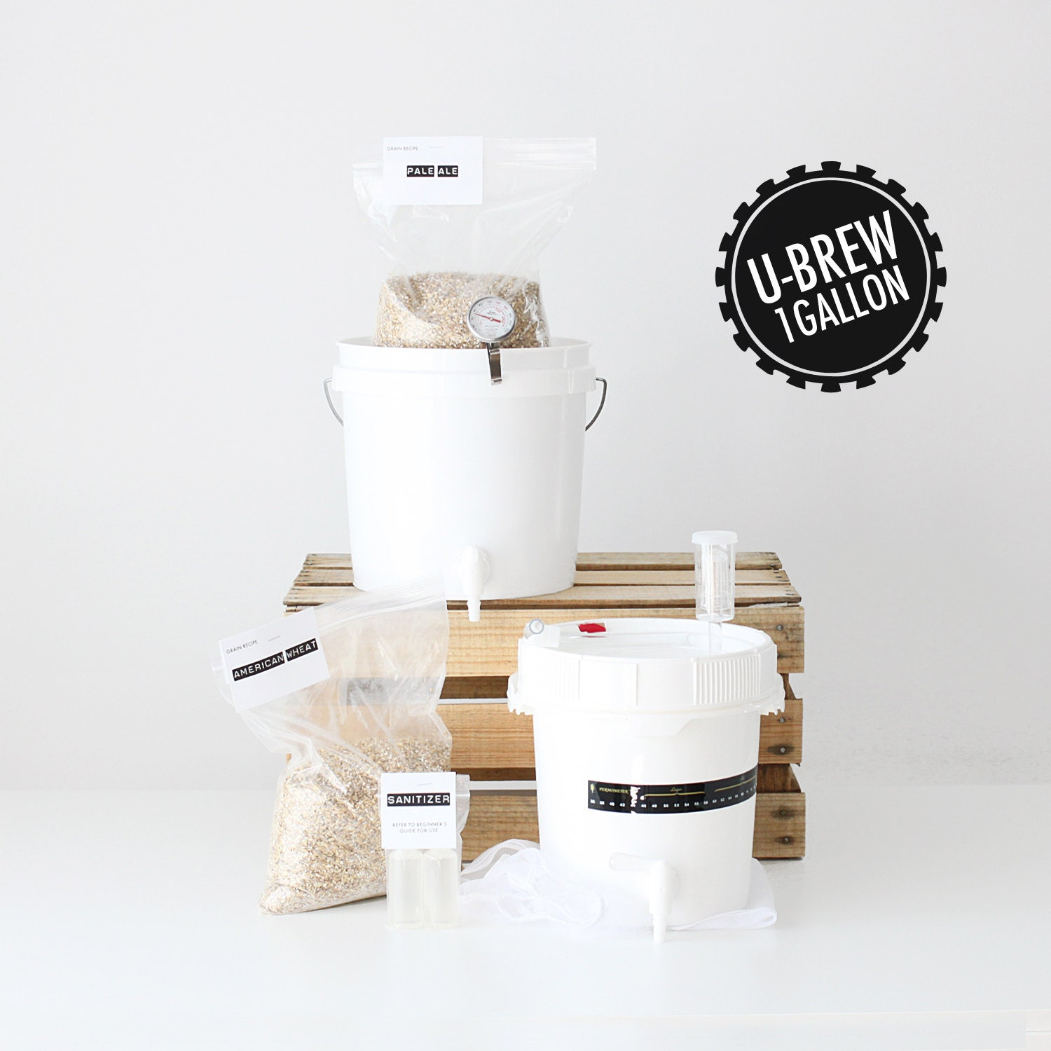 ubrew kit 1 gallon beer making kit with 2 grain by. Black Bedroom Furniture Sets. Home Design Ideas