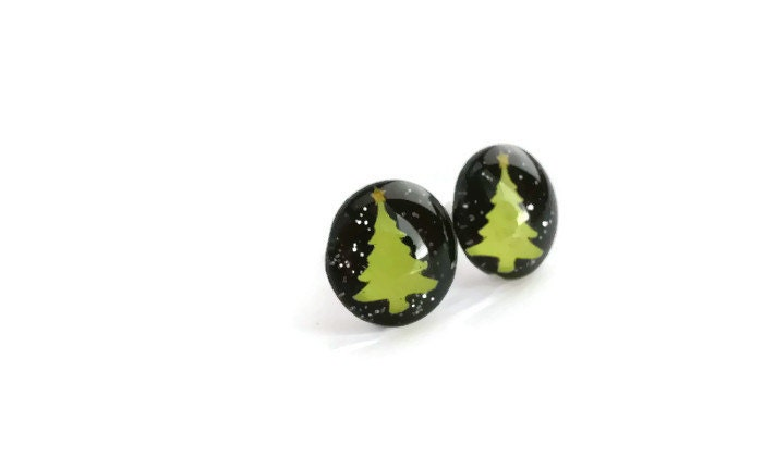 O Christmas Tree!  (leverback or studs) - Christmas Jewelry - PeachOrchardBoutique
