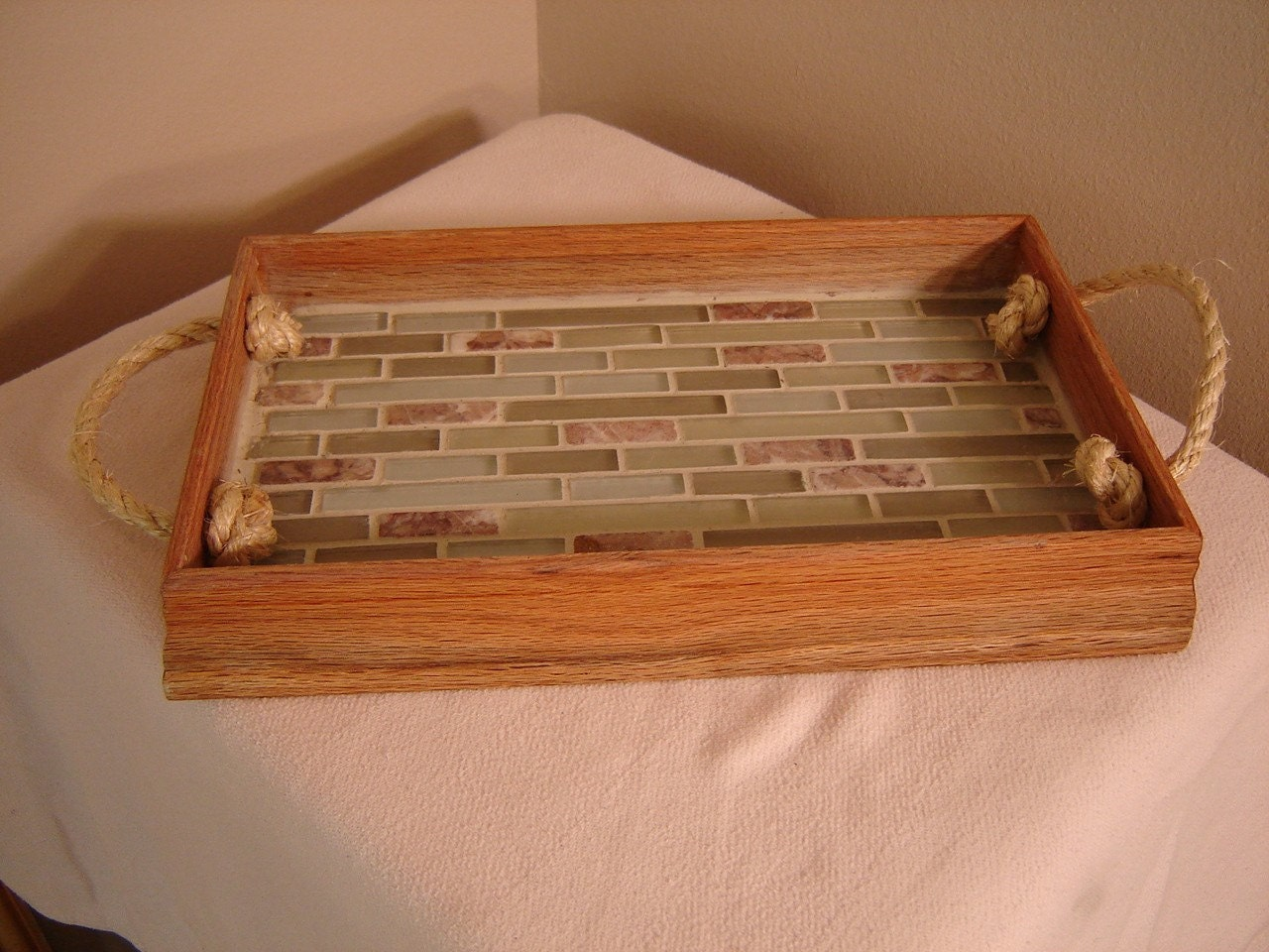 4EyesandEars Large Wood and Wine Cork Serving Tray w plexi insert OOAK