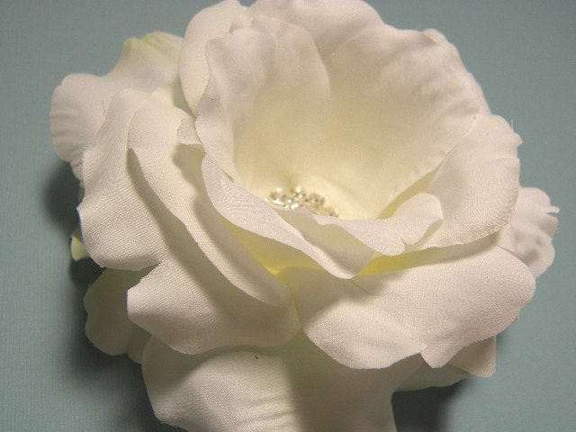 Deborah Sparkling White Silk Rose Bridal by SherriWeeseDesigns flower rose