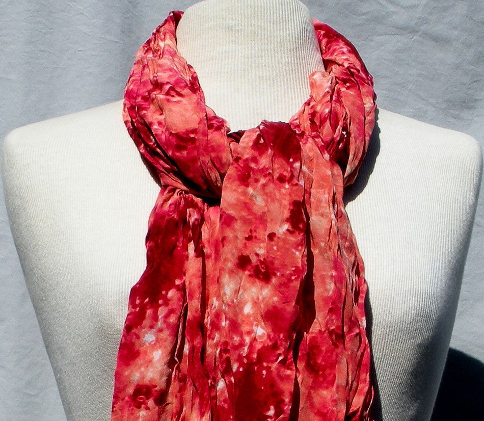 FREE SHIPPING-Cranberry Splash Silk Scarf