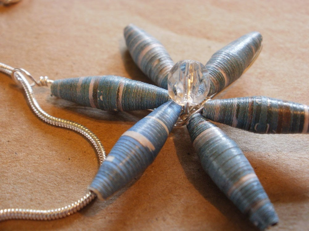 Blue Paper Bead Flower Necklace